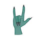Klaxons de main de zombi, doigt satan de signe vers le haut de vecteur de Halloween de geste illustration réaliste de bande dessi Images libres de droits