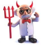 Klaxons de port de diable de scientifique fou drôle de la bande dessinée 3d et tenir le trident de satans illustration de vecteur