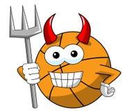 Klaxons drôles de trident de diable de caractère de bande dessinée de boule de basket-ball d'isolement illustration stock