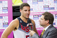 Klay Thompson interview. Klay Thompson of USA Team after the FIBA World Cup basketball match between USA and Mexico, final score 86-63, on September 6, 2014, in Stock Image