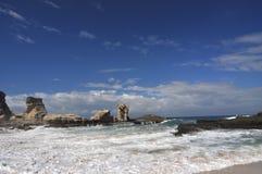 Klayar Beach. Beautiful beach with wonderful rocks and big wave Royalty Free Stock Photo