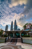 KLCC from As-Syakirin Mosque. This wonderful mosque near KLCC Twin tower with walking distance royalty free stock photos