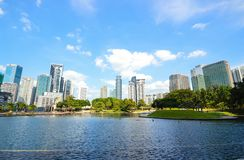 KLCC City Park. In sunny day near Petronas twin towers, Kuala Lumpur Malaysia Stock Photos