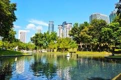KLCC City Park. In sunny day near Petronas twin towers, Kuala Lumpur Malaysia Royalty Free Stock Photo