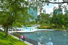 KLCC City Park. In sunny day near Petronas twin towers, Kuala Lumpur Malaysia Royalty Free Stock Photography