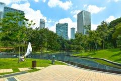 KLCC City Park. In sunny day near Petronas twin towers, Kuala Lumpur Malaysia Stock Images