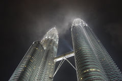 KLCC - horizontal. Kuala lumpur convention centre twin tower in night scene Stock Image