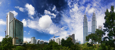 KLCC Park. A cityscape of Kuala Lumpur City Centre containing the Petronas twin tower from KLCC Park Royalty Free Stock Image