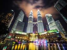KLCC and Petronas Towers at Night at Christmas Royalty Free Stock Photos