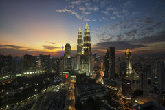 KLCC-schemering Royalty-vrije Stock Foto