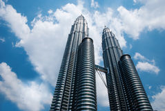 KLCC Tower with cloudy sky Royalty Free Stock Images