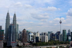 KLCC twin tower and KL Tower the building icons of Kuala Lumpur Malaysia Royalty Free Stock Photography