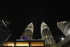 KLCC Twin tower during night. The tallest twin building in the world Stock Photography