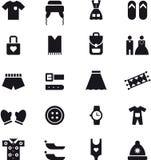 Kläd- och tillbehörsymboler Royaltyfri Bild