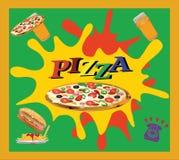 Klebender Pizza Takeaway Stockbilder