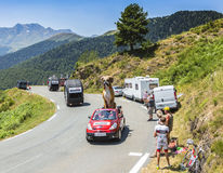Kleber Caravan in Pyrenees Mountains - Tour de France 2015. Col D`Aspin,France- July 15,2015: Kleber Caravan during the passing of the Publicity Caravan on the stock photo