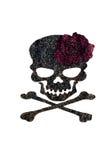 Kleber und Diamantstaub malen sind rosafarben und gekreuzte Knochen auf schwarzem Gewebe Stockfoto