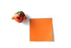 Klebrige Anmerkung und Erdbeere Lizenzfreies Stockbild