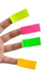 Klebrige Anmerkungen und Finger Stockbilder