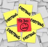 Klebrige Anmerkungen, zum der Liste zu tun alles überwältigende Aufgaben Lizenzfreies Stockbild