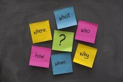 Klebrige Anmerkungssinneskarte mit Fragen Stockfotos