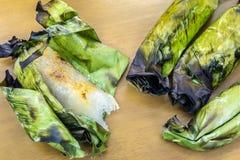 Klebriger Reis mit Bananengrill Lizenzfreie Stockfotos