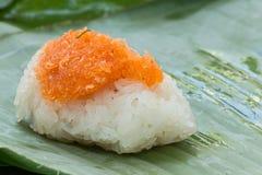 Klebriger Reis mit Garnele und Fetzenkokosnuß Lizenzfreie Stockbilder