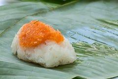Klebriger Reis mit Garnele und Fetzenkokosnuß Stockbilder