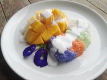 Klebriger Reis mit Mangofrucht stockfoto