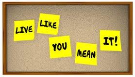 Klebriges Anmerkungs-Brett 4K Live Like You Mean Its Stockfotos