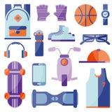 Kleding en schoenen voor actieve recreatie royalty-vrije illustratie