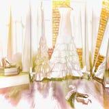Kleding van de bruid In een montageruimte Royalty-vrije Stock Afbeeldingen