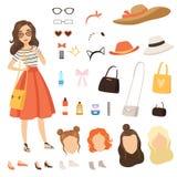 Kleding van modieus meisje Beeldverhaal vrouwelijk karakter met diverse maniertoebehoren en kleren royalty-vrije illustratie