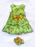 Kleding voor meisje - potloodschets Royalty-vrije Stock Fotografie