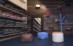 Kledingsopslag voor de betere inkomstklasse met Planken en Krukken Stock Afbeelding