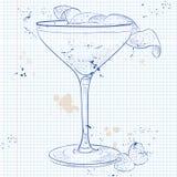 Klee-Club-Cocktail auf einer Notizbuchseite lizenzfreie abbildung