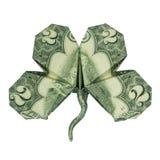 KLEE gefaltet mit wirklichem zwei Dollarschein stockfotografie