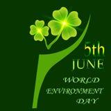 Klee mit vier Blättern auf einem Plaidhintergrund auf einem Plaidhintergrund 5. Juni Weltumwelttag Tagessymbol Str Lizenzfreie Stockfotografie