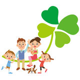 Klee und Familie von, vier Blätter Stockbilder