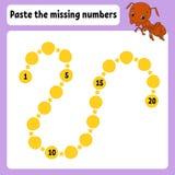 Kleef de ontbrekende aantallen De praktijk van het handschrift Het leren aantallen voor jonge geitjes Onderwijs die aantekenvel o vector illustratie