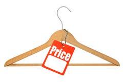 Kleerhanger en prijskaartje royalty-vrije stock afbeelding
