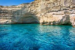 Kleftiko - bahía de los piratas, Milos isla, Cícladas Fotos de archivo