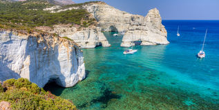 Kleftiko, Milos остров, Cyclades, Греция Стоковое Фото
