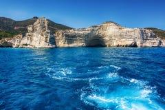 Kleftiko - piraci trzymać na dystans, Milos wyspy, Cyclades Zdjęcia Stock