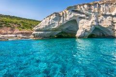 Kleftiko - piraci trzymać na dystans, Milos wyspy, Cyclades Obraz Stock