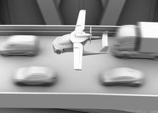 Klei die het teruggeven van futuristische vliegende auto in de schaduw stellen die over opstopping in de weg vliegen Stock Foto's