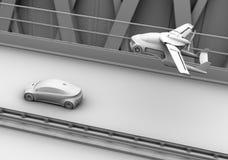 Klei die het teruggeven van futuristische vliegende auto in de schaduw stellen die over opstopping in de weg vliegen Stock Fotografie