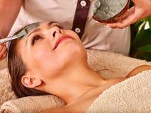 Klei gezichtsmasker in beauty spa Royalty-vrije Stock Afbeeldingen