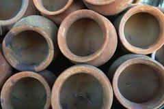Klei lichtrose oude potten, foto hierboven, de structuur van de cirkelsachtergrond Stock Fotografie