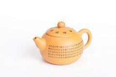 Klei oranje theepot met Chinese kalligrafie Royalty-vrije Stock Afbeeldingen